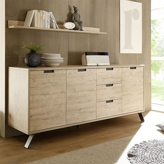 Product photograph showing Heyford Large Sideboard In Sherwood Oak With 3 Doors