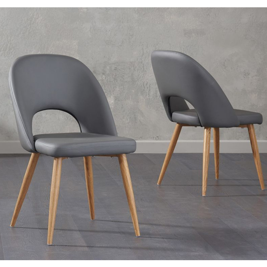 Heze Grey Faux Leather Dining Chairs In Pair_1