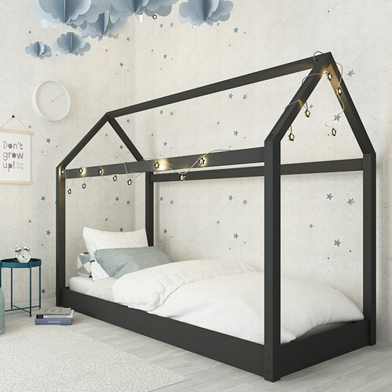 Hickory Wooden Single House Bed In Black