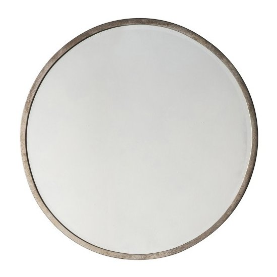 Higgins Round Bedroom Mirror In Antique Silver
