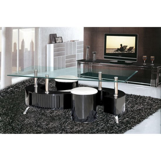 S Shape High Gloss Black Coffee Table With Storage