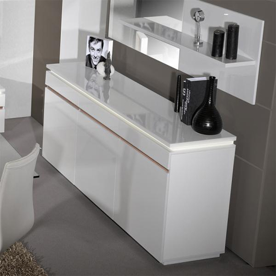 Elisa Sideboard In White High Gloss With 3 Doors And Lighting_5
