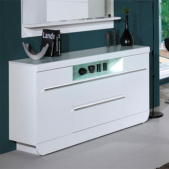 Fiesta Modern Sideboard High Gloss White Large 2 Door 2