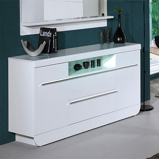 Fiesta Modern Sideboard High Gloss White Large 2 Door 2 Drawer