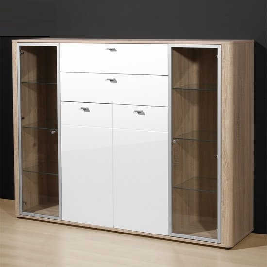 Monza Tall Sideboard In Gloss White And Oak