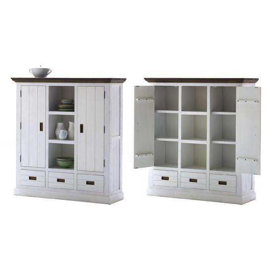 Gomera High Board Display Cabinet In White Acacia