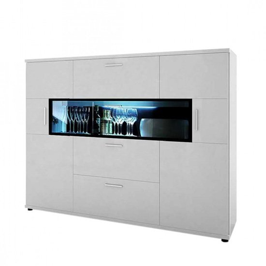 Corona Highboard In White High Gloss With 2 Door 3 Drawers