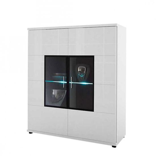 Corona Highboard Glass Display cabinet In White High Gloss