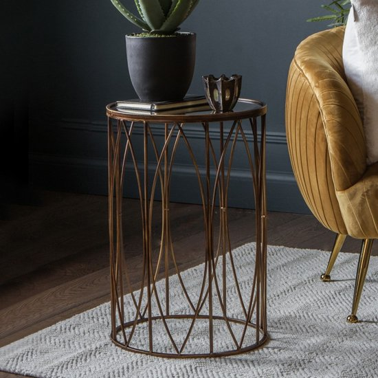 Highgate Glass Side Table In Bronze