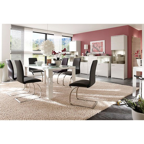 Tizio Glass Top Dining Table With 6 Maui Black Chairs
