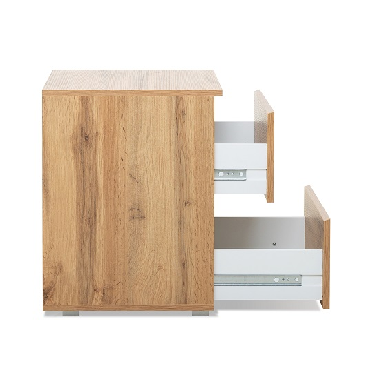 Hilary Wooden Bedside Cabinet In Golden Oak With 2 Drawers_3