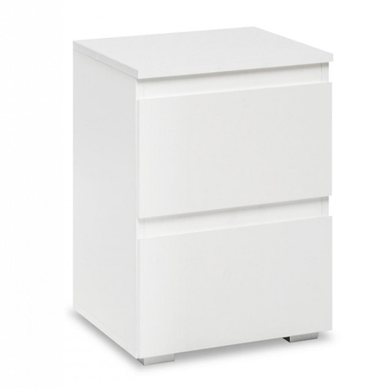 Hilary Wooden Bedside Cabinet In White With 2 Drawers