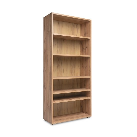 Hilary Wooden Bookcase In Golden Oak With Open Compartments