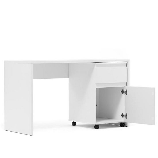 Hilary Computer Desk With Pedestal In White