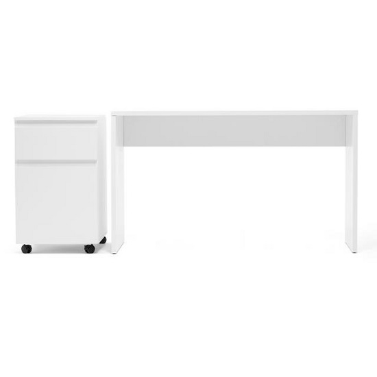Hilary Computer Desk With Pedestal In White_2