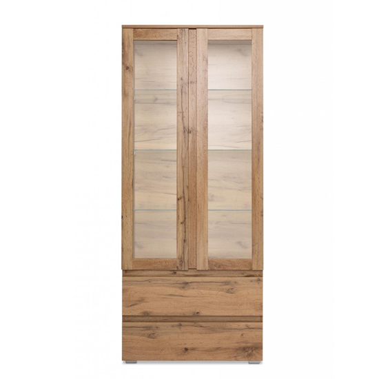 Hilary Display Cabinet In Golden Oak With 2 Glass Doors_2