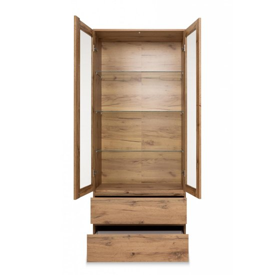 Hilary Display Cabinet In Golden Oak With 2 Glass Doors_3