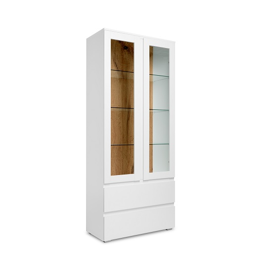 Hilary Display Cabinet In White And Oak With 2 Glass Doors