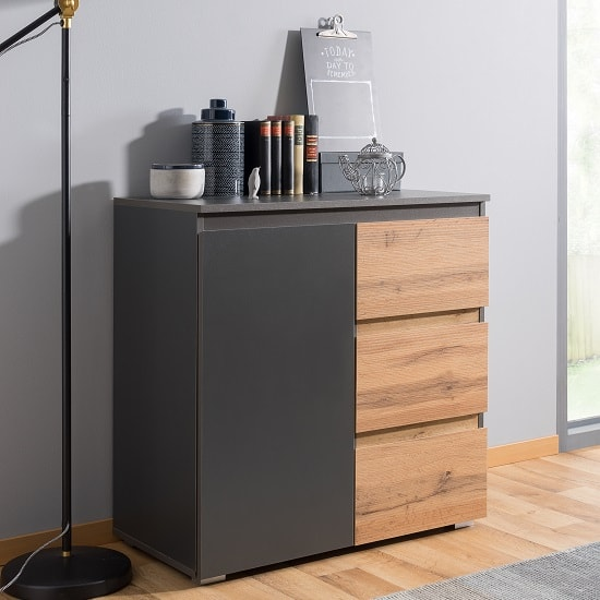 Hilary Wooden Chest Of Drawers In Anthracite And Oak