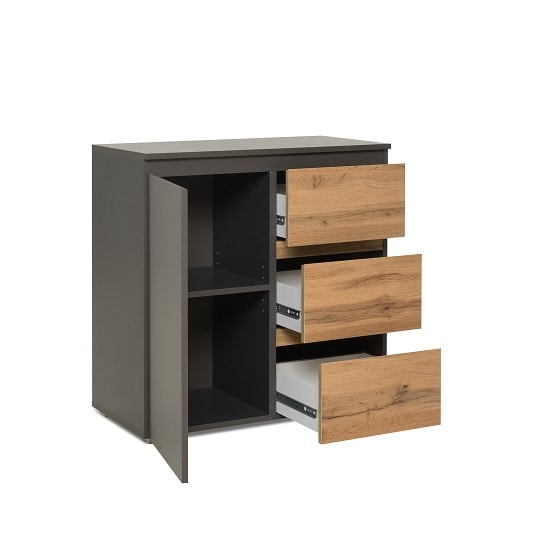 Hilary Wooden Chest Of Drawers In Anthracite And Oak_2