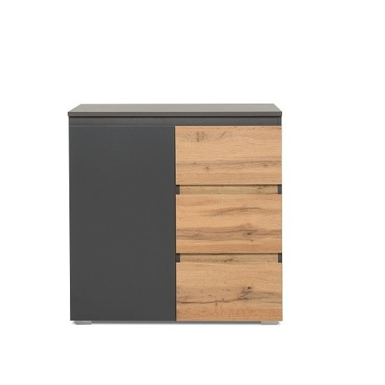 Hilary Wooden Chest Of Drawers In Anthracite And Oak_3