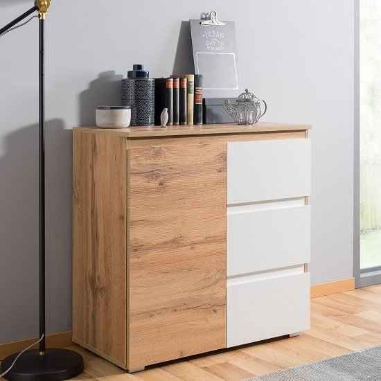 Hilary Contemporary Wooden Chest Of Drawers In Oak And White