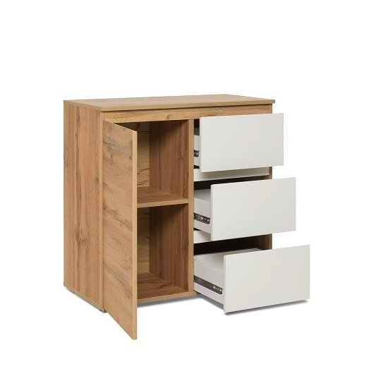 Hilary Contemporary Wooden Chest Of Drawers In Oak And White_2