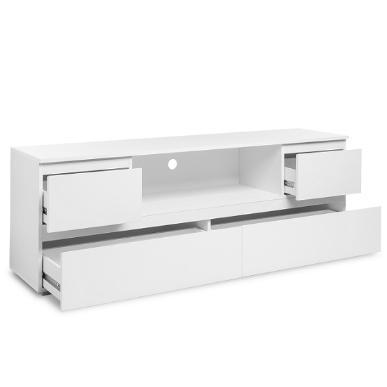 Hilary Wooden TV Stand In White With 4 Drawers_2