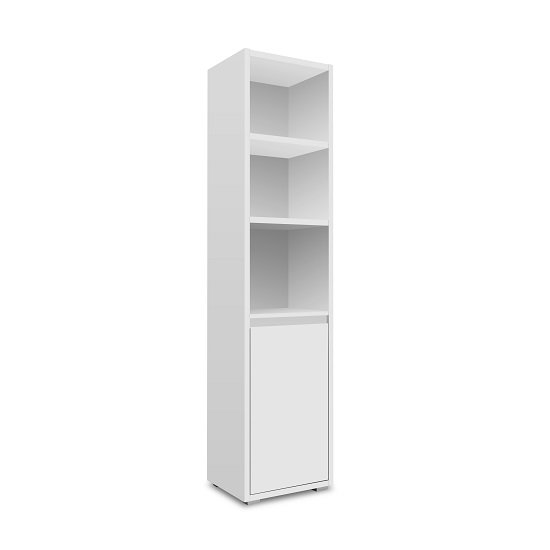 Hilary Wooden Display Cabinet In White With 1 Door
