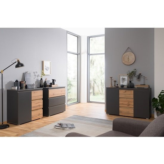 Hilary Wooden Chest Of Drawers In Anthracite And Oak_4