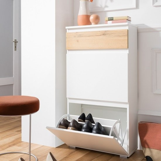 Hilary Shoe Cabinet In White And Oak With 2 Flap Doors