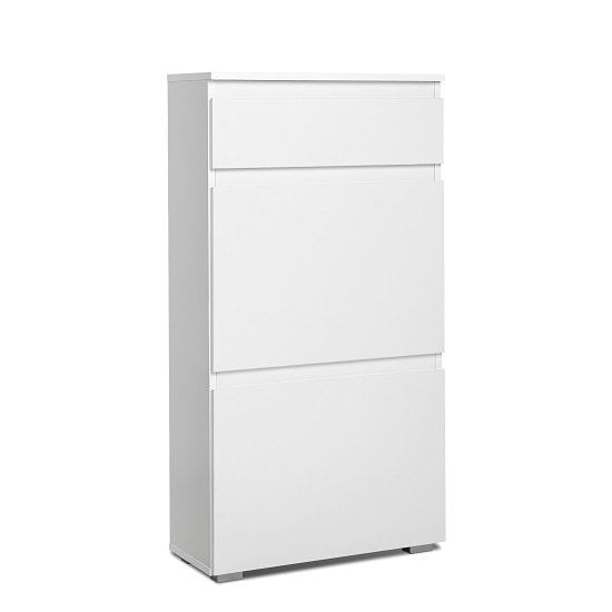 Hilary Shoe Cabinet In White With 2 Flap Doors