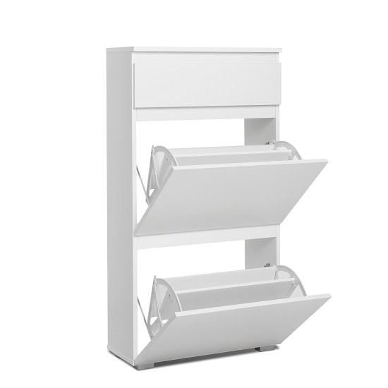 Hilary Shoe Cabinet In White With 2 Flap Doors_2