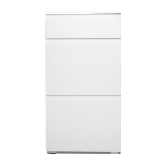 Hilary Shoe Cabinet In White With 2 Flap Doors_3