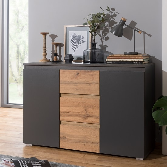 Hilary Contemporary Wooden Sideboard In Anthracite And Oak