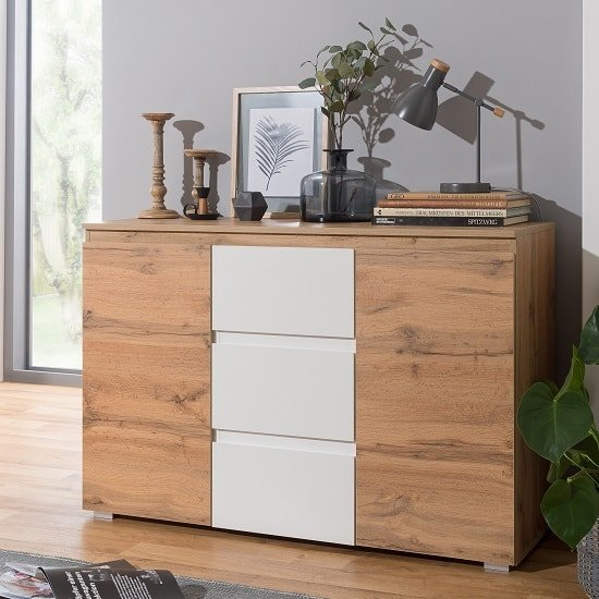 Hilary Contemporary Wooden Sideboard In Oak And White