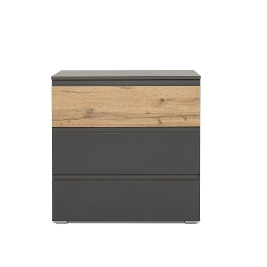Hilary Chest Of Drawers In Anthracite And Oak With 3 Drawers_3