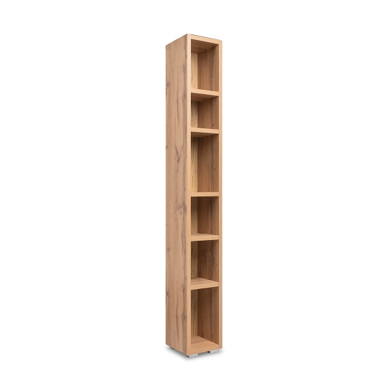 Hilary Shelving Unit Tall In Golden Oak With 6 Open Compartments