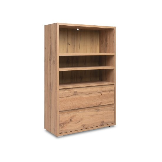 Hilary Wooden Bookcase Wide In Oak With 2 Drawers