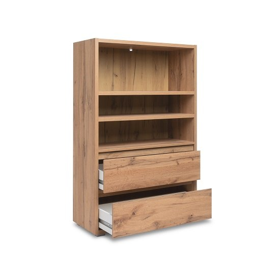Hilary Wooden Bookcase Wide In Oak With 2 Drawers_2