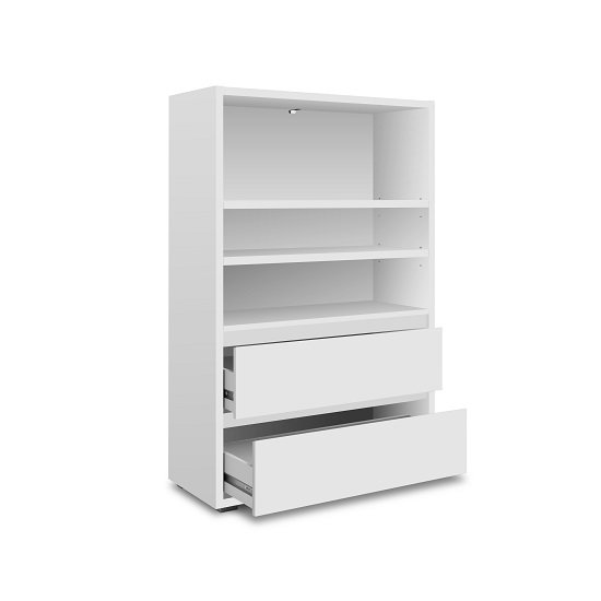 Hilary Wooden Bookcase Wide In White With 2 Drawers_2