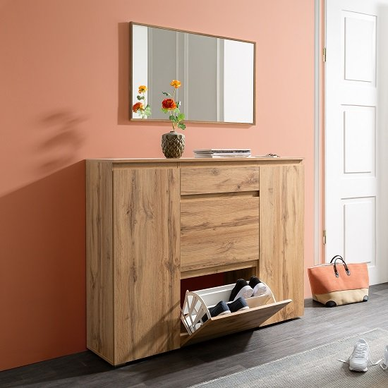 Hilary Wooden Shoe Storage Cupboard In Golden Oak_1