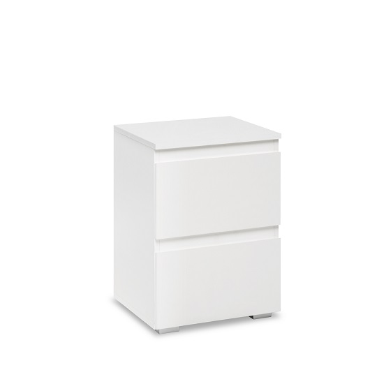 Hilary Contemporary Wooden Bedside Cabinet In White_3