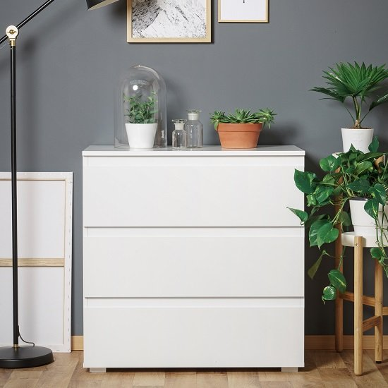 Hilary Contemporary Wooden Small Chest Of Drawers In White