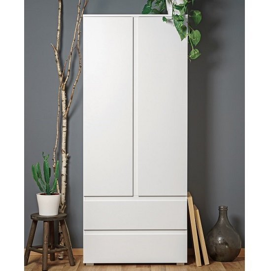 Hilary Contemporary Wooden Wardrobe In White