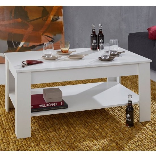 Hilburn Wooden Coffee Table Rectangular In White With Undershelf