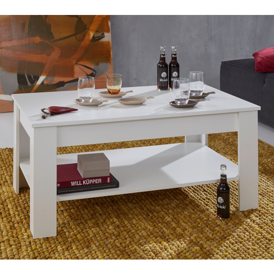 Hilburn Wooden Coffee Table In Andersen White Pine