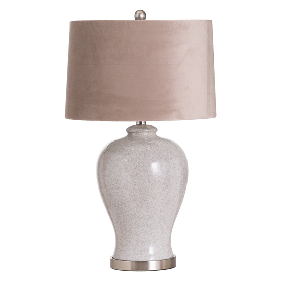 View Hilden ceramic table lamp in white with natural shade