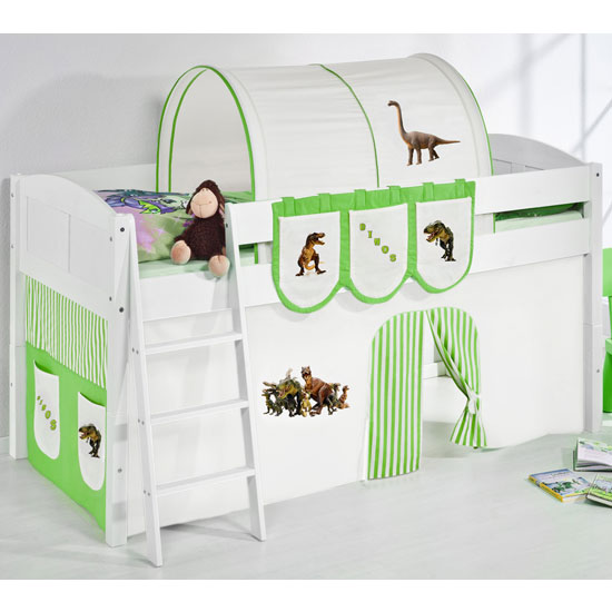 Hilla Children Bed In White With Dinosaur Green Curtains
