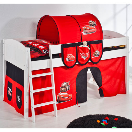 Hilla Children Bed In White With Disney Cars Curtains